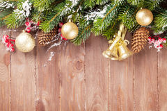 Christmas background with fir tree and decor Royalty Free Stock Images