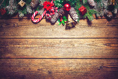 Christmas background with fir tree and decoration Stock Photos