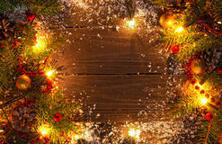Christmas background with fir tree, decorations and lights Royalty Free Stock Images