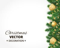 Christmas background with fir tree garland, hanging balls and rib. Background with christmas tree garland and ornaments. Hanging golden glitter balls and ribbons Stock Image
