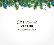 Christmas background with fir tree garland, hanging balls and rib. Holiday background with christmas tree garland and ornaments. Hanging blue and silver balls Royalty Free Stock Photography