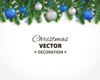 Christmas background with fir tree garland, hanging balls and rib. Holiday background with christmas tree garland and ornaments. Hanging blue and silver balls Stock Image