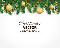 Christmas background with fir tree garland, hanging balls and ribbons. Background with christmas tree garland and ornaments. Hanging golden glitter balls and Stock Image
