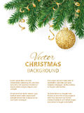 Christmas background with fir tree garland, hanging glitter ball and ribbons. Vector christmas tree branches and ornaments. Page layout, design template for Royalty Free Stock Images