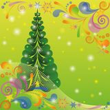 Christmas background with fir tree. Christmas background for holiday design with fir tree, abstract patterns and flashes on green. Eps10, contains transparencies Stock Photos