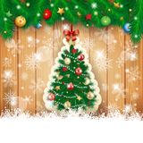 Christmas background with fir and tree. Illustration Stock Images