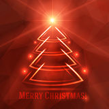 Christmas background with fir tree. Christmas background with red luminous fir tree and bright shining star Royalty Free Stock Photography