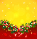 Christmas background with fir tree. And balls Royalty Free Stock Photography