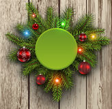 Christmas background fir tree on wooden board Royalty Free Stock Images