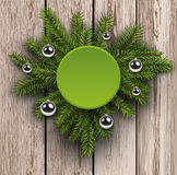Christmas background fir tree on wooden board Stock Images