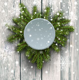 Christmas background fir tree on wooden board Stock Photography