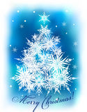 Christmas background with fir-trees. Christmas blue background with fir-trees and snowflakes Stock Photo