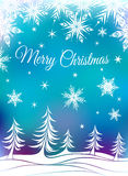 Christmas background with fir-trees and snowflakes Stock Photography