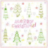 Christmas background with fir trees. Snowflakes, lollipops, gifts and Christmas stocking Stock Photos