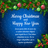 Christmas background with fir twigs and balls Stock Photography