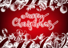 Christmas background with fir twigs and balls hand drawn vector sketch Stock Photos