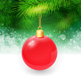 Christmas background with fir twigs and christmas. Ball. Vector illustration. EPS 10 Stock Image
