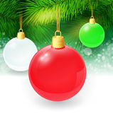 Christmas background with fir twigs and christmas. Balls. Vector illustration. EPS 10 Stock Photography