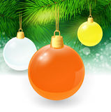 Christmas background with fir twigs and christmas. Balls. Vector illustration. EPS 10 Stock Photo