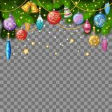 Christmas background with fir twigs, christmas toys. And decoration. Vector illustration, eps 10 Stock Photos