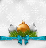 Christmas background with fir twigs and glass balls Royalty Free Stock Photos
