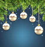 Christmas Background with Fir Twigs and Glass. Illustration Christmas Background with Fir Twigs and Glass Balls, Holiday Wallpaper - Vector vector illustration