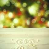 Christmas background. Fireplace shelf background for display montage of new product. Christmas blur background. Fireplace shelf background for display montage of royalty free stock photo