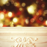 Christmas background. Fireplace shelf background for display montage of new product. Christmas blur background. Fireplace shelf background for display montage of Royalty Free Stock Photography
