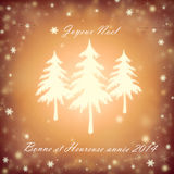 Christmas. Background with 3 firs and snowflakes Stock Images