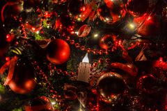 Christmas background with flashing garland on the tree Royalty Free Stock Photography