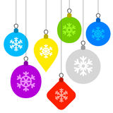 Christmas Background with Flat Balls and Stock Photo