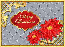 Christmas background with flowers and gold ornaments Royalty Free Stock Image