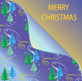 Christmas background with folded corner and trees Royalty Free Stock Photos