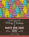 Christmas background with forest of christmas trees, vector Royalty Free Stock Photography