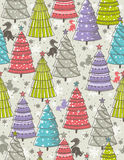 Christmas background with forest of christmas trees, vector Royalty Free Stock Image