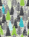 Christmas background with forest of christmas trees, vector Royalty Free Stock Photos