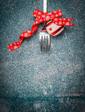 Christmas background with fork and festive decoration on rustic background, top view Royalty Free Stock Photo