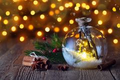Christmas background in the form of a lantern ball and toys. New royalty free stock photos