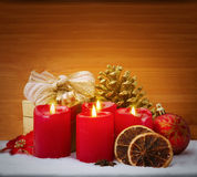 Christmas background  with four candles. Royalty Free Stock Images