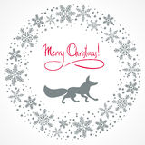 Christmas background with fox silhouette Stock Image