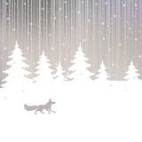 Christmas background with fox and winter forest Royalty Free Stock Images
