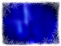 Christmas background frame. With frozen stars and blue background Royalty Free Stock Photography