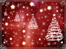 Christmas background frame. With Christmas trees and stars Stock Photo