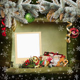 Christmas background with frame and beautiful Christmas decorations Royalty Free Stock Image