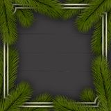 Christmas background. Frame of Christmas tree branches. On wooden background. Eps 10 Royalty Free Stock Photography