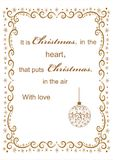 Christmas background with frame for congratulation. Festive greeting Merry Christmas ball gold ornaments hand drawn line abstract vector illustration Stock Image