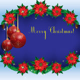 Christmas background frame with fir branches and flowers poinsettia and Christmas balls. Royalty Free Stock Photos