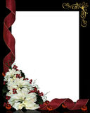 Christmas Background Frame Floral. Illustration and image composition for Christmas background, Frame, border or invitation with poinsettias and ribbons, copy Stock Photo
