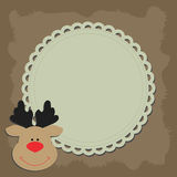 Christmas background frame with head Rudolph the reindeer smile. Stock Images