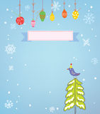 Christmas background with frame, snow, tree and bird - funny des Stock Photos